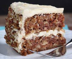 Apple Cake with Maple Buttercream. Apple Cake with Maple Buttercream and Pecan Trim. Mousse Au Chocolat Torte, Maple Buttercream, Glaze For Cake, Apple Cake Recipes, Rice Crispy Treats, Cupcakes, Desert Recipes, Food Items, Food And Drink