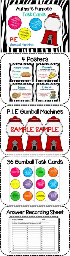 Author Purpose Task Cards (Gumball style) Author's Purpose Task Cards