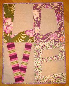 pieceful life: l o v e mini quilt