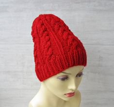 Winter hat women red slouchy beanie, Hand knitted chunky Beanie for ladies Cable knit  Wool Hat