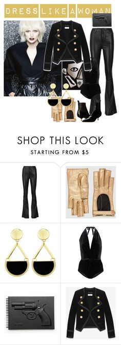 """""""dress like a woman, part six, by roxariaone"""" by roxariaone ❤ liked on Polyvore featuring Gucci, Karla Colletto, Revolver, Yves Saint Laurent and Vivienne Westwood"""