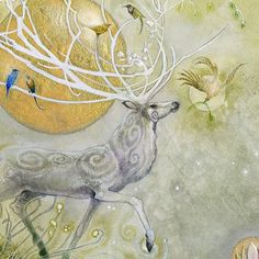 "Detail closeup from ""Allegro"" #watercolors #gold #goldleaf #beautiful #stag #deer #enchantment #magical #myth #mythical #golden #art #bird #forest"