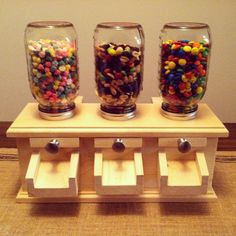 Mason Jar Candy Dispensers made from pine and poplar. Woodworking Projects For Kids, Scrap Wood Projects, Diy Craft Projects, Diy Woodworking, Diy Gumball Machine, Mason Jar Candy, Candy Dispenser, Kids Wood, Wood Plans