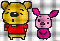 Winnie and Piglet perler bead pattern