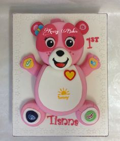 VTech pink teddy bear cake for a birthday. Everything was handmade and free hand painted. Teddy Bear Cakes, Celebration Cakes, Birthday Party Themes, Your Child, Hand Painted, Pink, Handmade, Free, Painting