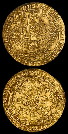 "The Gold Ryal, also known as the Rose Noble, was an English gold coin first issued in 1464, during the ""first reign"" of Edward IV (1461-1470). From the 1430s onwards, the price of gold had been rising, with the result that the gold noble, which had been in use since 1344, was worth more on the continent than in England. The nobles were exported en masse to the continent for profit, resulting in a shortage of the coins."