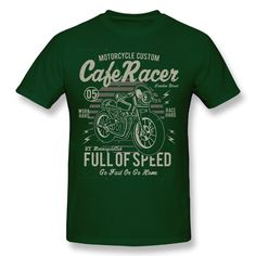 Cafe Racer Full of Speed Motorcycle Retro T Shirt Vintage Cotton Tees Round Neck Awesome Tops Men Short Sleeve T-Shirt Custom Cafe Racer, Cotton Tee, Sleeve Styles, Motorcycle, Retro, Tees, Mens Tops, T Shirt, Black Suede