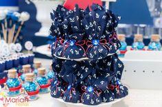 Trufas decoradas em tecido tema Marinheiro | Festa infantil marinheiro | Decoração by Mariah festas #trufasmarinheiro #temamarinheiro