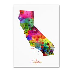 California Map by Michael Tompsett Graphic Art on Wrapped Canvas