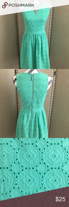 Kensie eyelet fit and flare dress Kensie mint green dolmen dress. 34 inches from shoulder to hem line. Lined with 100% polyester shell made with 100% cotton. Kensie Dresses