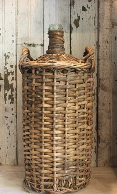 HUGE vintage French wicker demi john wrapped by mysweetsavannah French Baskets, Vintage Baskets, Vintage Bottles, Bottles And Jars, Old Wicker, Wire Baskets, French Decor, Rattan, Basket Weaving