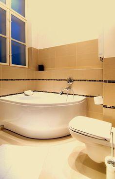 Bathtub of the master bedroom's bathroom www.bellhostel.com Master Bedroom Bathroom, Corner Bathtub, Uni, Luxury, Modern, Trendy Tree, Corner Tub