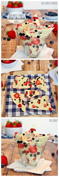 """Red White and Blue Bark made with white chocolate and DRIED FRUIT!!! Amazing.  So good and """"healthy"""" (girl math).  YUM! - The Cookie Rookie #4thofjuly #fourthofjuly"""