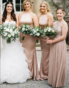 New Rose Gold Bridesmaid Dresses, A Line Spaghetti Straps Backless Wedding Party Dress Sequins, Long elegant Bridesmaid Dresses, Mermaid Bridesmaid Dresses, Elegant Bridesmaid Dresses, Gold Bridesmaids, Bridesmaid Dresses Online, Wedding Party Dresses, Bridesmaid Bouquet, Dress Party, Backless Wedding, Flower Bouquet Wedding