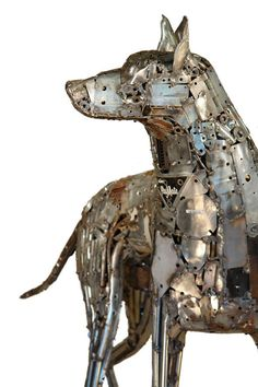 Sculptures made out of nuts, bolts and scrap metal