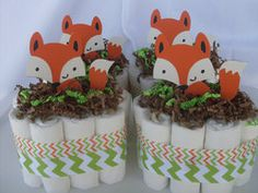 Price: $44 Description: These 4 Mini Fox Diaper Cakes will make adorable table centerpieces at your baby shower or a gift for the special MOM To Be. They are sure to make your shower special! The Mom To Be will love them. Can be made for a girl as well.. Please see pic 2 for …