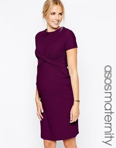ASOS Maternity Textured Bodycon Dress With Cross Front