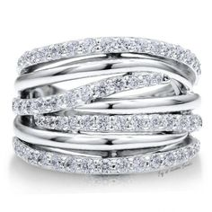 Sterling Silver 925 Cubic Zirconia CZ Multi Strand Woven Ring Band Rings Jewelry for Women - Stylehive The Bling Ring, Bling Bling, Cowgirl Bling, Diamond Wedding Rings, Diamond Engagement Rings, Sea Glass Jewelry, Jewelry Rings, Gold Jewellery, Prom Jewelry