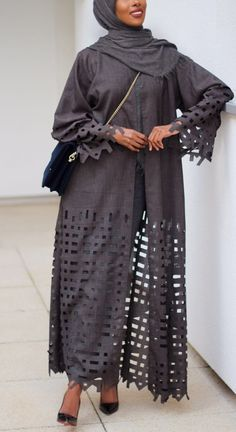 Sapphire Grey Laser Cut Cover up Kimono Shop online in store at Abayas Boutique