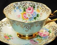Royal Albert England Blue White Gold Tea Cup and Saucer | $125