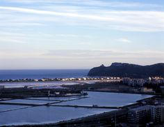 View in Cagliari: Sella del Diavolo (Davil's saddle) and the city saltpan Sardinia, Landscapes, River, Island, City, Places, Outdoor, Paisajes, Outdoors