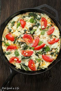 Kale Goat Cheese Tomato Frittata With Egg Whites, Eggs, Goat Cheese, Tomatoes, Kale, Olive Oil, Ground Pepper, Celtic Salt, Fresh Cilantro