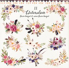Wow! An amazing set of cute watercolor clip art. Includes watercolor flowers, watercolor laurel branches, watercolor antlers + more. Wowsers. A lot included.