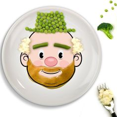 Food Face Dinner Plate #Cute, #Dinner, #DishwasherSafe, #Food, #Plate