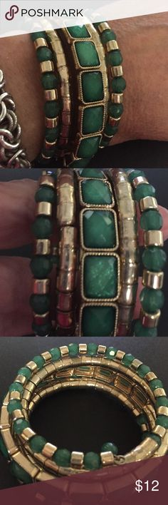 Green wrap bracelet Preloved but in great condition, green and gold tone wrap bracelet. B43 Jewelry Bracelets