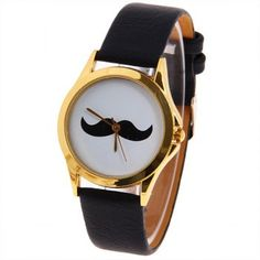 Quartz Watch Mustache Patterned Round Dial with Leather Watch Band for Unisex (Black) Piercings, Cool Watches, Black Watches, Pretty Necklaces, Oui Oui, Pearl Diamond, Leather Watch Bands, Looks Cool, Quartz Watch
