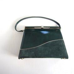 vintage forrest green purses | Vintage 1960s Handbag / Forest Green / 60s Purse / Air Step Handbag