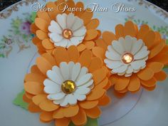 Handmade Paper Flowers - Daisy - Orange and White  - Weddings - Party Favors - Custom Colors Available