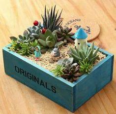 Retro Nostalgic Style Wooden Succulent Plants Flower Pot Garden Handmade Planting Flowerpot Retro No