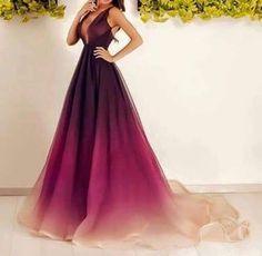 Charming purple prom dress,long chiffon evening dress,sexy deep V-Neck prom dress,2016 custom