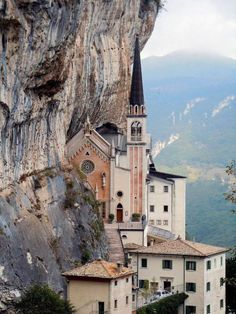 Sanctuary Madonna della Corona, carved into the side of Mount Baldo in Verona, Italy