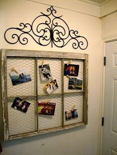 Old window frame turned picture with some chicken wire and clothes pins! Old window frame turned picture with some chicken wire and clothes pins! Chicken Wire Crafts, Chicken Wire Frame, Old Window Frames, Window Frame Ideas, Window Panes, Rustic Window Frame, Window Pane Decor, Rustic Picture Frames, Picture Wire
