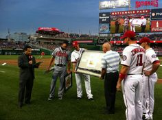 Chipper received a game-used base from Monday and the bat he used to hit the first HR at Nats Park.