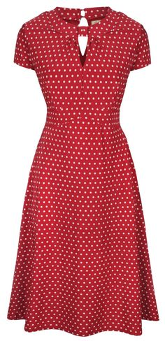 Lindy Bop 'Juliet' Classy Red Polka Dot Vintage WW2 Landgirl 1940s 1950s Pinup Retro Tea Dress: Clothing