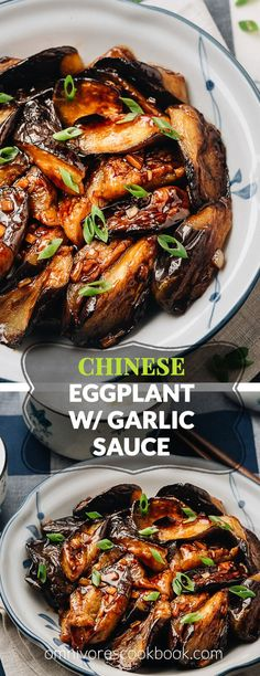 Chinese Eggplant with Garlic Sauce - The eggplant is grilled until crispy and smoky and then cooked in a rich savory garlic sauce This vegan dish is very satisfying both as a side or a main dish served over rice or noodles Gluten-Free Adaptable Chinese Eggplant Recipes, Eggplant Dishes, Recipes With Eggplant Vegan, Best Eggplant Recipe, Grilled Eggplant Recipes, Cooking Eggplant, Vegetable Recipes, Vegetarian Recipes, Cooking Recipes