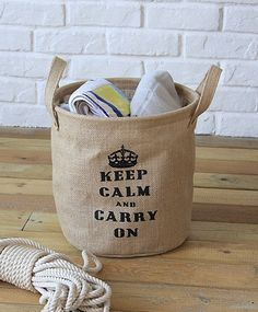 Fabric storage bag with print