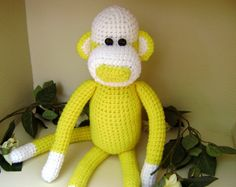 Crochet Monkey Stuffed Toy Shelf Sitter Yellow by PrissysPlace, $20.00