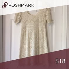 White Dress White embroidery lace-style dress. Back zipper with hook and eye. Brand is Pines and Needles. Anthropologie Dresses
