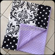 Baby blanket black and white damask with black by SnugglyLilBabes, $59.99