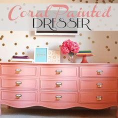 Love the pink dresser! DIY CONFETTI WALL with decals - D, some more gold polka dot walls for the girls room. Coral Painted Dressers, Pink Dresser, Painted Furniture, Colored Dresser, Pink Drawers, Dresser Tv, Dresser Refinish, Furniture Makeover, Diy Furniture