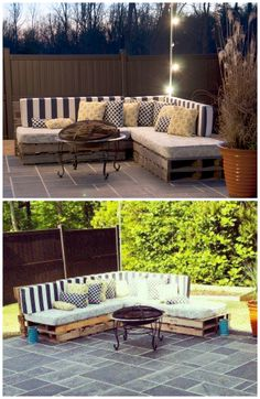 Outdoor Pallet Sofa #patio #woodworking #upcycle #furniture