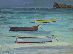 Jean-Francois Koenig- Mauritius- Trois pirogues à Cap Malheureux -Acrylic ~ 41 cm x 55 cm