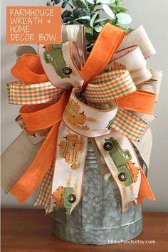 Fall Home Decor, Autumn Home, Holiday Decor, White Pumpkins, Fall Pumpkins, Plaid Decor, Decorative Bows, Pumpkin Wreath, Front Door Decor