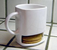 Genius!: Mug With A Cookie Holding Shelf. Genius!!! I think this is silly!