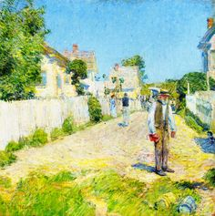 """""""Street in Gloucester"""", Childe Hassam, 1896, Oil on canvas, 20 x 20"""", Private collection."""