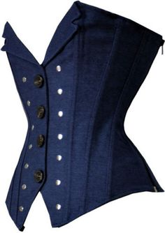 Womens-Blue-Denim-Revit-Studded-Corset-Vest-Bustier-Basque-Waistcoat-Club-Top